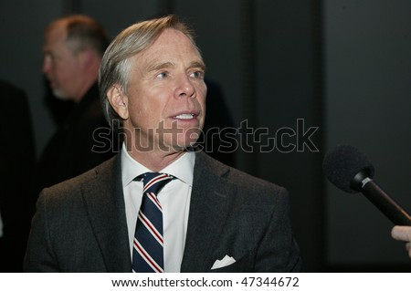 NEW YORK - FEBRUARY 18: Tommy Hilfiger gives interview on the runway closing Fall/Winter 2010 Mercedes-Benz Fashion Week at Bryant Park on February 18, 2010 in New York