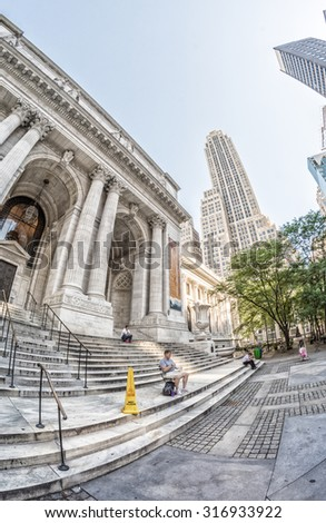 New York Fifth Avenue and Public Library area. - stock photo