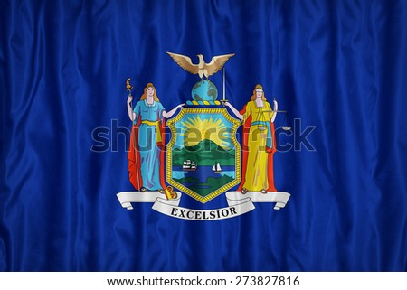New York flag pattern with a peace on fabric texture,retro vintage style - stock photo