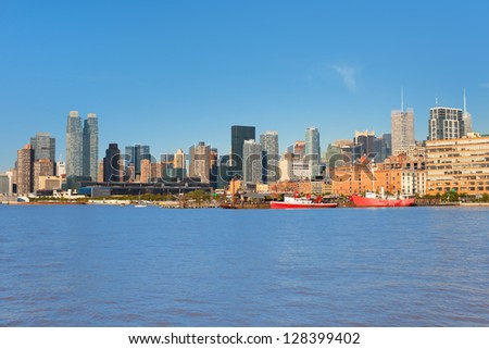 New York from Hudson river in a sunny day