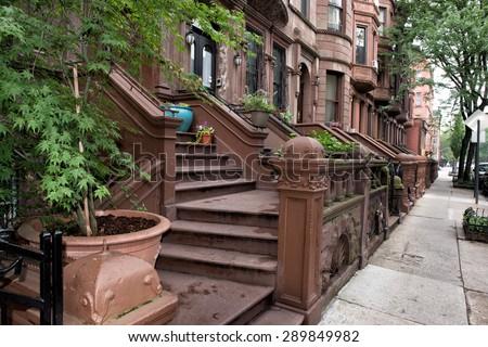 New York houses in Perron in Harlem - stock photo