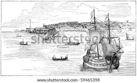 "New York in 1673. Illustration originally published in Ernst von Hesse-Wartegg's ""Nord Amerika"", swedish edition published in 1880. - stock photo"