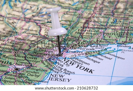New York  in the map with pin - stock photo