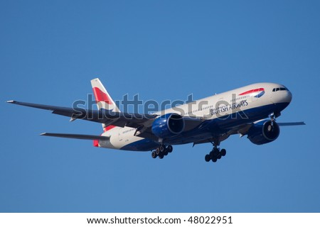 NEW YORK - JANUARY 9: A Boeing 767 British Airways at JFK Airport on Runaway 4R on January 9, 2010 in New York. - stock photo