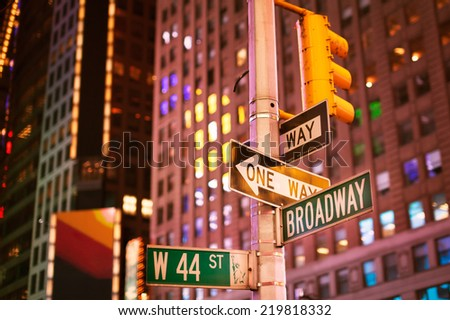 New York, January 19, 2014 - Broadway sign in New York City at night  - stock photo
