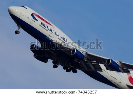 NEW YORK - JANUARY 2: Delta Boeing 747 climbs after take off from JFK in New York, USA, on January 2, 2011. Delta is of of the major American airlines serve domestic and international destinations - stock photo
