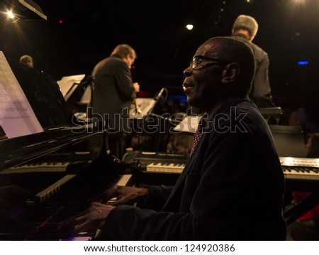 NEW YORK - JANUARY 12: George Cables piano performs with Billy Harper band The Cookers on stage as part of NYC Winter Jazz Festival at Le Poisson Rouge on January 12, 2013 in New York City