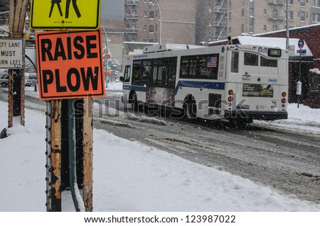 NEW YORK - JANUARY 6, 2013: MTA Bus on January 6, 2013 in New York. The MTA Regional Bus Operations is the surface transit division of the Metropolitan Transportation Authority. - stock photo