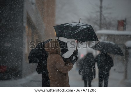 NEW YORK - JANUARY 23, 2016: The biggest blizzard ever covered East cost of USA - stock photo