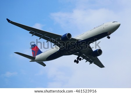 NEW YORK - JULY 28, 2016: Delta Air Lines Airbus A330 descending for landing at JFK International Airport in New York