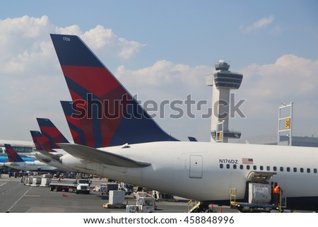 NEW YORK - JULY 6, 2016: Delta Airlines planes at the gate Terminal 4 at JFK International Airport in New York