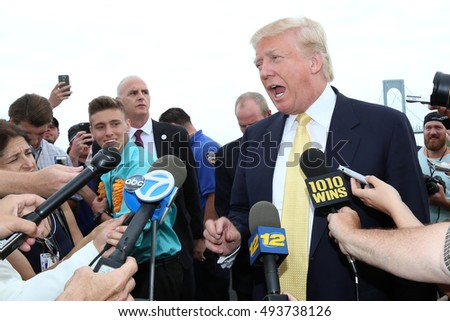 NEW YORK - July 6, 2015: Donald Trump attends the Hanks Yank's Golf Classic at the Trump Golf Links at Ferry Point on July 6, 2015 ,in New York City.