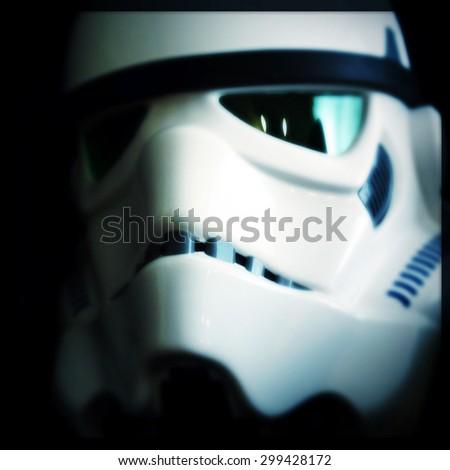 NEW YORK - JULY 24 2015: Filtered image of an eFX brand Star Wars Stormtrooper helmet.  - stock photo