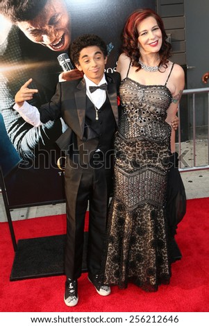 "NEW YORK - JULY 21, 2014: James Brown II and Tomi Rae Brown attend the premiere of ""Get On Up"" at the Apollo Theater on July 21, 2014 in New York City. - stock photo"