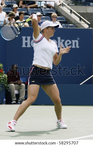 NEW YORK- JULY 27: Kim Clijsters in action against Laura Granville July 27, 2003 in Flushing, NY. Clijsters won the match to advance on in the 2003 US Open. - stock photo