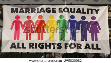 NEW YORK - JULY 5, 2015: Marriage equality banner in Manhattan. The Supreme Court legalized gay marriage nationwide on June 26, 2015 in a historic 5-4 decision - stock photo