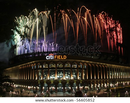 NEW YORK - JULY 5: Pyrotechnics display at Citi Field ballpark on July 5, 2010 in Flushing, New York. - stock photo