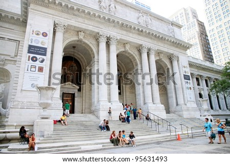 NEW YORK - JULY 15: The New York Public Library on July 15, 2011 in New York. With nearly 53 million items, the New York Public Library is the second largest public library in the United States. - stock photo