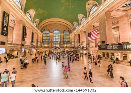 NEW YORK - JUNE 8: Grand Central Station on June 8, 2013 in New York. Grand Central Station is a commuter rail terminal station at 42nd Street and Park Avenue in Midtown Manhattan in New York City. - stock photo