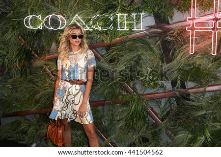 NEW YORK-JUNE 22: Hailey Baldwin attends the 2016 Coach And Friends Of The High Line Summer Party at The High Line on June 22, 2016 in New York City. - stock photo