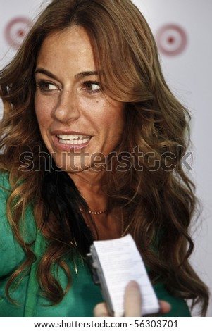 NEW YORK - JUNE 29: Kelly Bensimon gives an interview at 'Target Party for Good' as part of the 2010 National Conference on Volunteering on Pier 36 South Street on June 29, 2010 in New York City - stock photo