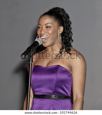 NEW YORK - JUNE 18: Rashidra Scott of Sister Act musical performs at The Imperial Court of New York event to benefit Metropolitan Church in Industry Bar on June 18 2012 in New York