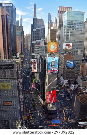 NEW YORK - JUNE 16: Traffic flows near New York City's Times Square on June 16, 2015 seen from above - stock photo