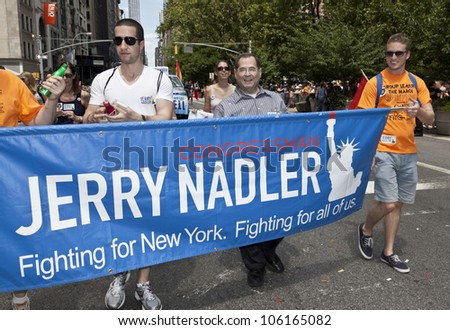 NEW YORK - JUNE 24: US Congressman Jerry Nadler attends 2012 New York City's Pride March in New York on June 24, 2012. - stock photo