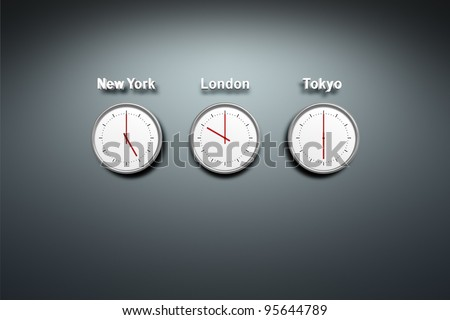 New York - London - Tokyo - time 3 clocks at the wall - stock photo