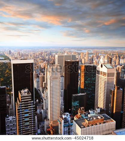 New york manhattan at sunset - central park side view - stock photo