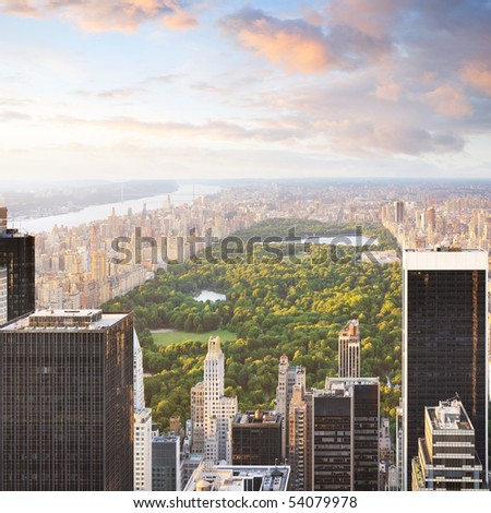 New york manhattan at sunset - central park view - stock photo