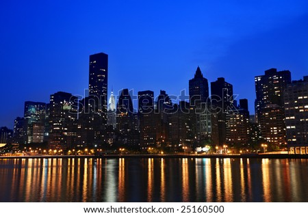 New York Manhattan Island evening panorama taken from Roosevelt island