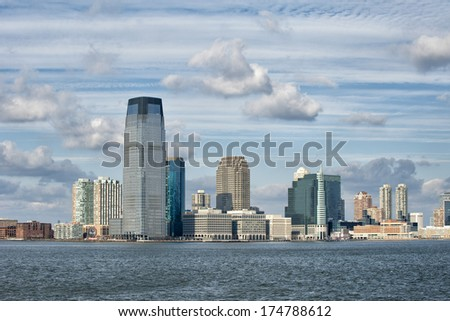 New York Manhattan Panorama from Statue of Liberty island - stock photo