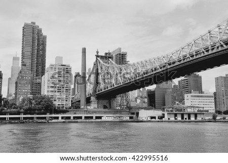 New York - Manhattan skyline and Queensboro bridge - stock photo