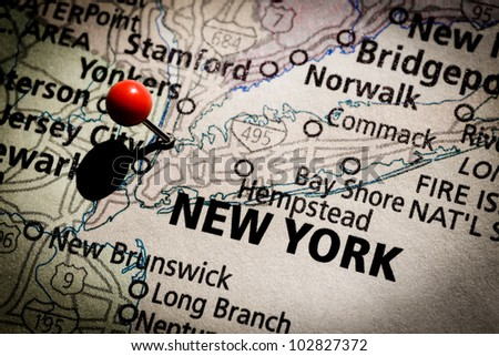 New York map with red pushpin. - stock photo