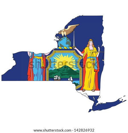 New York map with the flag inside.  - stock photo