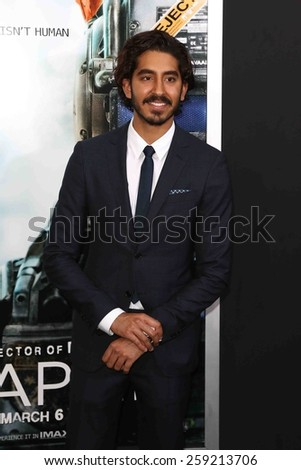 "NEW YORK-MAR 4: Actor Dev Patel attends the premiere of ""Chappie"" at AMC Loews Lincoln Square on March 4, 2015 in New York City. - stock photo"