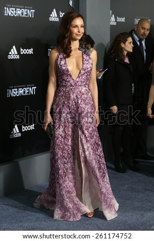 "NEW YORK-MAR 16: Actress Ashley Judd attends the U.S. premiere of ""The Divergent Series: Insurgent"" at the Ziegfeld Theatre on March 16, 2015 in New York City. - stock photo"
