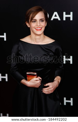 "NEW YORK-MAR 26: Actress Emma Watson attends the premiere of ""Noah"" at the Ziegfeld Theatre on March 26, 2014 in New York City. - stock photo"