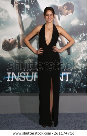 "NEW YORK-MAR 16: Actress Shailene Woodley attends the U.S. premiere of ""The Divergent Series: Insurgent"" at the Ziegfeld Theatre on March 16, 2015 in New York City. - stock photo"