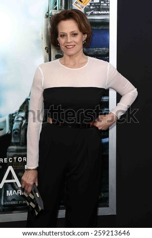 """NEW YORK-MAR 4: Actress Sigourney Weaver attends the premiere of """"Chappie"""" at AMC Loews Lincoln Square on March 4, 2015 in New York City. - stock photo"""