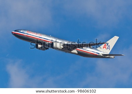 NEW YORK - MARCH 16: a Boeing 767 American Airline approaches JFK in New York, USA on March 16, 2012. American Airline is on of the oldest American airlines and one of the biggest in the world - stock photo