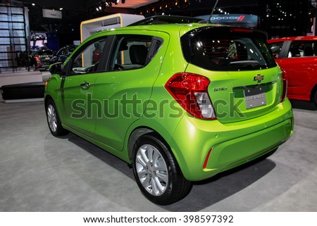 NEW YORK - MARCH 23: A Chevrolet Spark at the 2016 New York International Auto Show during Press day,  public show is running from March 25th through April 3, 2016 in New York, NY. - stock photo