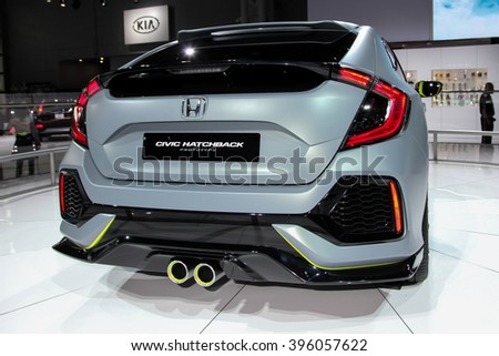 NEW YORK - March 23: A Honda Civic Hatchback prototype at the 2016 New York International Auto Show during Press day,  public show is running from March 25th through April 3, 2016 in New York, NY. - stock photo