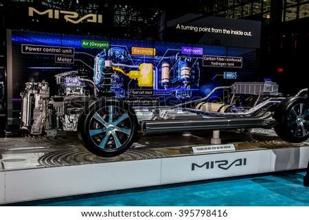 NEW YORK - March 23: A Toyota Mirai on  exhibit at the 2016 New York International Auto Show during Press day,  public show is running from March 25th through April 3, 2016 in New York, NY. - stock photo