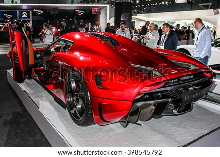 NEW YORK - MArch 23: AKoenigsegg Regera at the 2016 New York International Auto Show during Press day,  public show is running from March 25th through April 3, 2016 in New York, NY. - stock photo