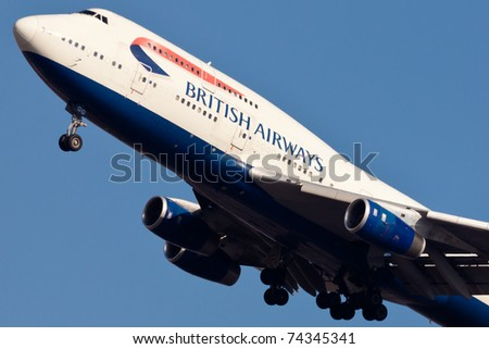 NEW YORK - MARCH 10: Boeing 747 British Airways climbs after take off from JFK in New York, USA on March 10, 2011. British Airways is one of the oldest airlines and rated top3 biggest in Europe - stock photo