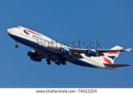 NEW YORK - MARCH 10: Boeing 747 British Airways climbs after take off from JFK in New York, USA on March 10, 2011. British Airways is one of the oldest airlines and rated top 3 biggest in Europe - stock photo