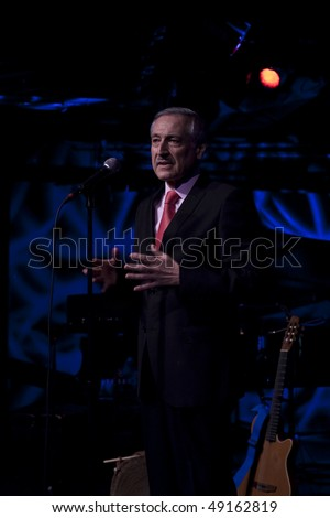 NEW YORK - MARCH 21: Chilean Ambassador Heraldo Munoz to the United Nations speaks at Le Poisson Rouge on Benefit concert Music for Chile on March 21, 2010 in New York