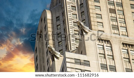 NEW YORK - MARCH 12: Chrysler building facade, pictured on on March 12th, 2010 in New York, was the world's tallest building before it was surpassed by the Empire State Building in 1931 - stock photo
